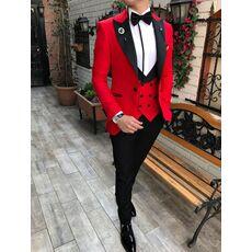 Men Suits 3 Pieces Slim Fit Business Suits Groom Champagne Noble Grey White Tuxedos for Formal Wedding suit (Blazer+Pants+Vest)