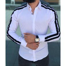Plain Men Formal Shirts Business Dress Wedding Long Sleeve Slim Fit Top Patchwork HOT