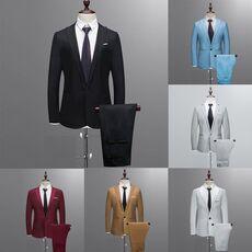 Suit Men Slim Fit Blazer Suit 2pc set Male Wedding Party Blazers Man Formal Business Work Wear Suits Costume homme mariage Set#Y