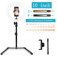 "10"" 18"" 22"" Ring Lamp 3200-5600K Stepless adjusted Selfie Ring Light with Tripod Light Stand Photographic Lighting for youtube"