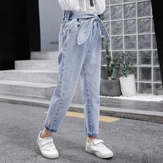 2020 Spring Kids Jeans Girl Solid Jeans For Girls Fashion Bow Girls Jeans Pants Autumn Casual Girls Clothes 6 8 10 12 14 Year