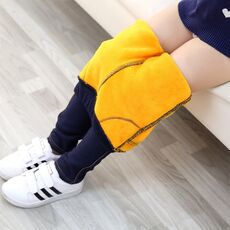 Children's Wear Winter New Thickened Middle and Big Girl Jeans Chao Korean Elastic Plushed Girl's Small Foot Children's Pants