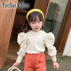 Spring Autumn girls sweater baby knitwear kids knitted tops children fashion clothes streetwear ins puff sleeve patch 1 to 8 yrs