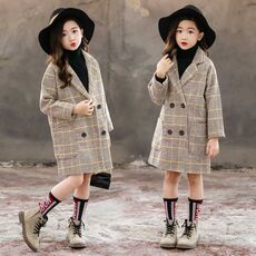 Winter Coat For Girls Thick Woolen Jacket For Girls Fashion Plaid Kids Outerwear Autumn England Teenage Clothes For Girls School