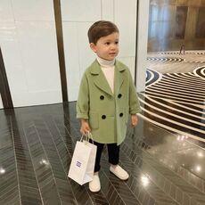 Winter Grid Jackets Boys girls Woolen Double-breasted Baby Boy Trench Coat Lapel Kids Outerwear Coats Wool Coat  Winter Overcoat