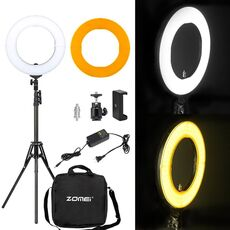 "ZOMEI 14"" Dimmable LED Studio Ring Light Photographic Lighting Makeup Lamp For Camera Photo Phone Selfie Youtube Video Shooting"
