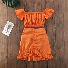 1-6Y 2PCS Toddler Kids Baby Girls Clothes Sets Orange Off Shoulder Tops Crop Ruffle A-Line Skirt Outfit