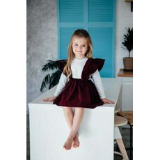 1-6Y Kids Girls  Fly Sleeve Strap Skirts Corduroy Tutu Skirt Clothes Cute Outfits Autumn Winter Solid Suspender Skirt