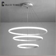 Creative Modern Home LED For Living Room Bedroom Dining Room White&Black&Golden&Coffee Circle Frame LED Chandeliers AC 110V 220V