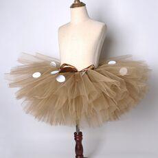 Fluffy Brown Deer Girl Tutu Skirt Christmas Costume Kids Reindeer Tulle Skirt for Halloween Carnival Children Outfit 1-14 Years