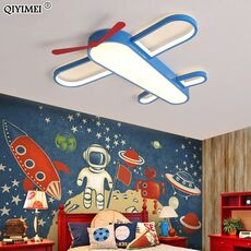 New Modern LED Child Chandeliers Lamps For Girls Room Boy Bedroom Blue Airplane Light Shade  Lighting Lampadario Lustres Fixture