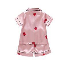 Summer New Kid Sleepwear Sets Nightgown 1-4T Girls Cotton Strawberry Print Pajamas Boy Homewear Children Loungewear
