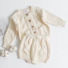 Toddler Girls Boys Suit Autumn Winter Children Clothing Boys Girls Baby Knit Sweater Cardigan + Shorts Suit Baby Clothes Suit