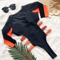 2020 Sexy Mesh One Piece Swimsuit Women Long Sleeve Swimwear Zipper Swimsuit Patchwork Bathing Suit Beachwear Surfing Swimsuits