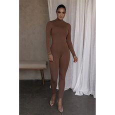 2021 New Fashion Causual Bodycon Women Rompers Sexy Slim Empire Push Up Package Hip O Neck Long Sleeve Solid Streetwear Bodysuit