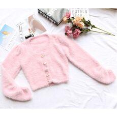2021 New Low O Neck Pink Sweater Fluffy Long Sleeve Tunic Slim Knitwear Simple Cute Flower Button All Match Streetwear Cardigan