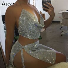 AKYZO Women Sparkly Rhinestone Halter Metal Chain Dress 2019 New Nightclub Gold Silver Backless Split Hip 2 Pieces Set Dress