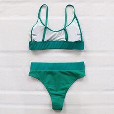 INGAGA High Waist Bikinis 2021 Swimwear Women Push Up Swimsuits Solid Brazilian Bikini Ribbed Biquini Strap Swim Bathing Suits