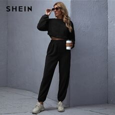 SHEIN Brown Drop Shoulder Teddy Crop Pullover and Sweatpants Set Winter Two Piece Women Warm Solid Casual 2 Piece Outfits