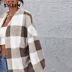 SHEIN Multicolor Drop Shoulder Buffalo Plaid Teddy Coat Women Winter Lantern Sleeve Shearling Outwear Casual Coats