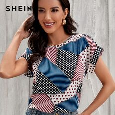 SHEIN Multicolor Patchwork Print Dolman Sleeve Top Women 2021 Summer Cap Sleeve Oversized Ladies Casual Tops and Blouses