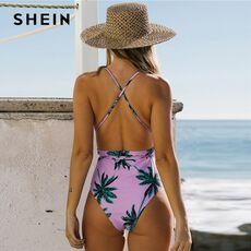 SHEIN Orange Palm Tree Knot Front One Piece Swimsuit Women Summer V Neck Wireless Bra Tropical Print Beach Bohemian Bikinis