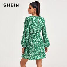 SHEIN Self Belted Ditsy Floral Wrap Dress Women Spring V neck Bishop Sleeve Ladies High Waist Boho A Line Dresses