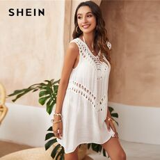 SHEIN White Solid Hollow Out Cover Up Women 2021 Summer Sleeveless V Neck Sheer Beachwear Tops Longline Ladies Cover Ups