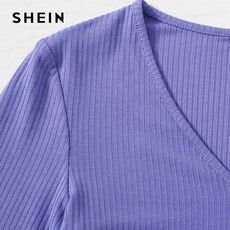 SHEIN White V-neck Lace Hem Rib-knit Tee Crop Top Women Autumn Long Sleeve Slim Fit Solid Casual T-shirt Tops