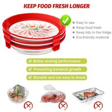 TEENRA 2Pcs Round Food Preservation Tray Kitchen Food Fresh Keeping Storage Container Creative Stackable Food Fresh Tray