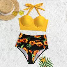 Women Fashion Sunflower Print Sleeveless Bikini Set Top Shorts Two Piece Set Swimsuit Bathing Suit Swimwear Beach Wear Tankinis