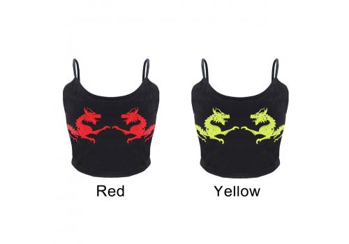 2019 Women debardeur femme U Neck Fitness Casual Sexy Fashion Sleeveless Cropped Crop Tops Polyester Dragon Pattern vest