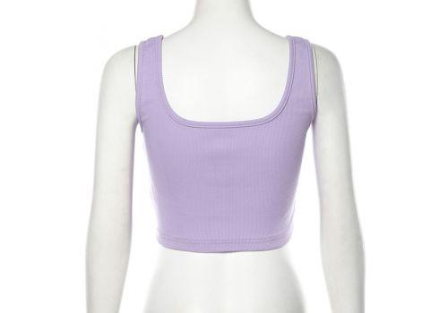 Sexy Button Tank Tops Fashion Womens Purple Vest Off Shoulder Halter Blusa Shirt 2019 Summer Slim Crop Top Camisole