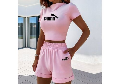 2 Pieces Set Women Summer O-Neck Casual Crop Top 2020 Female Clothing Tracksuit Pockets Loose Shorts Two Pieces